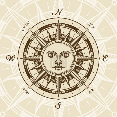 Illustration for Vintage sun compass rose in woodcut style. Vector illustration with clipping mask. - Royalty Free Image