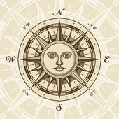 Vintage sun compass rose in woodcut style Vector illustration with clipping mask