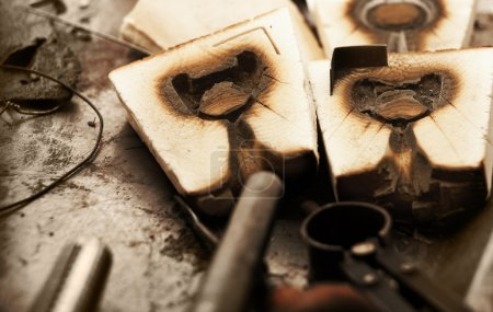 Old wooden jewelry molds