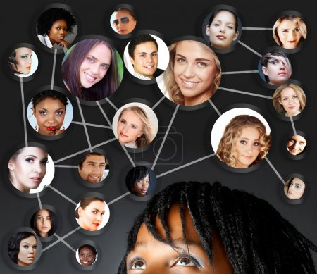 Photo for African young woman with her social network friends and business partners in a diagram - Royalty Free Image