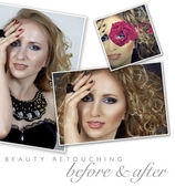 Woman professional face retouch
