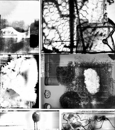 Photo pour Collage texture grunge avec taches et taches et éléments dessinés à la main - image libre de droit