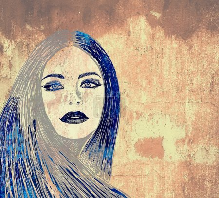 Photo for Graffiti fashion illustration of a beautiful woman with long hair on wall texture with grunge effect - Royalty Free Image