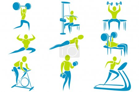 Illustration for Illustration of set of icon showing different gym activity - Royalty Free Image