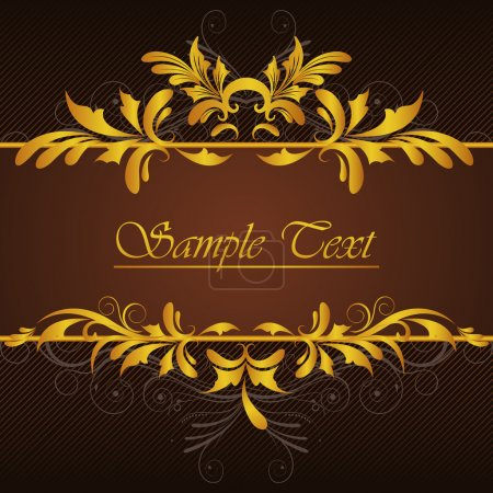 Illustration for Illustration of golden vintage background with floral - Royalty Free Image