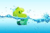 Dollar in water