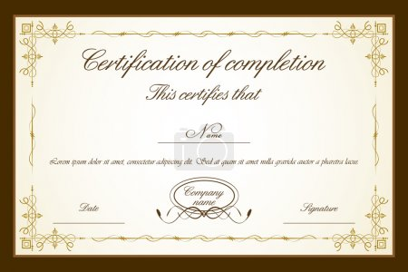 Illustration for Illustration of certificate template with floral frame - Royalty Free Image