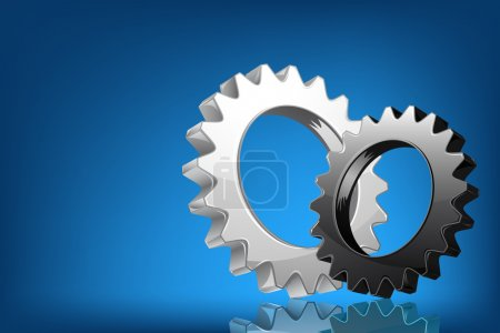 Illustration for Illustration of pair of cog wheel on abstract background - Royalty Free Image