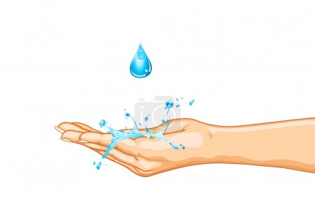 Illustration for Illustration of hand saving water on isolated background - Royalty Free Image