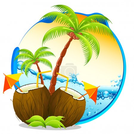 Illustration for Illustration of coconut cocktail with palm tree on tropical background - Royalty Free Image