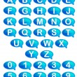 Illustration of set of alphabet and number in spee...