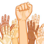 Multi Racial raised Hands