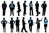 Illustration of set of silhouette of business on isolated background