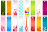 Illustration of set of colorful floral bookmark