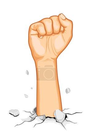 Illustration pour Illustration du poing sortant du sol fissuré - image libre de droit