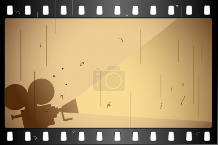 Illustration of film strip frame on abstract backg...