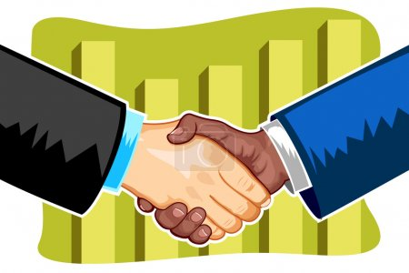 Illustration for Illustration of handshake between business on bar graph at backdrop - Royalty Free Image
