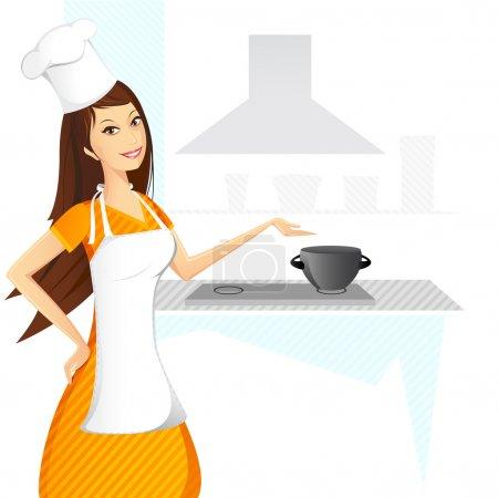 Illustration pour Illustration de la cuisine dame sur fond abstrait - image libre de droit