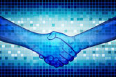 Illustration of hand shake on abstract binary background
