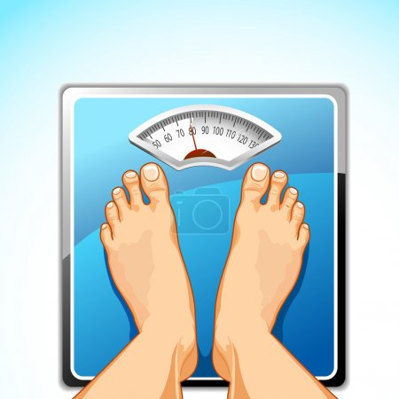 Illustration for Illustration of feet on weighing machine on abstract background - Royalty Free Image