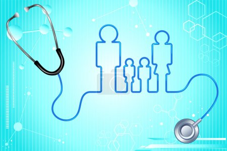 Illustration for Illustration of family icon with stethoscope on abstract medical background - Royalty Free Image