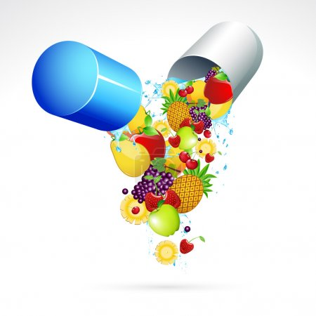 Illustration for Illustration of fruits coming out from vitamin capsule - Royalty Free Image