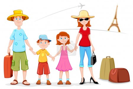 Illustration of family standing in front of eiffel...