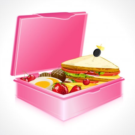 Illustration for Illustration of sandwich fruits and egg in lunch box - Royalty Free Image