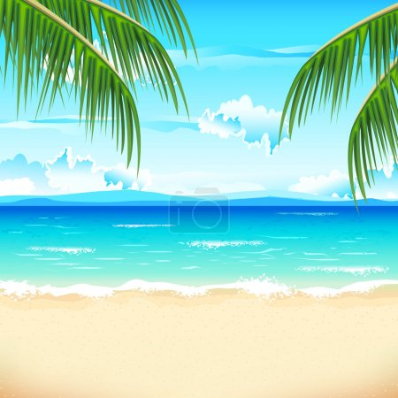 Photo for Illustration of sea beach with palm tree - Royalty Free Image