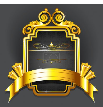 Illustration for Illustration of royal badge with golden frame on black background - Royalty Free Image