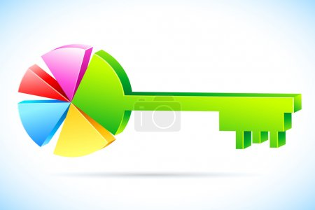 Illustration for Illustration of key in shape of pie chart on abstract background - Royalty Free Image
