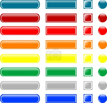 Illustration for Set of colored empty glass button icon - Royalty Free Image