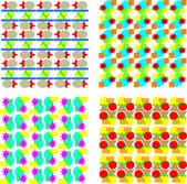 Set of seamless floral background pattern Vector illustration