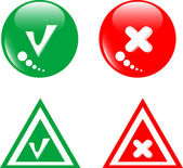 Button green accept and red reject set