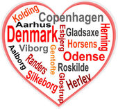 Denmark Heart and words cloud with larger cities