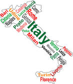 Italy map and words cloud with larger cities