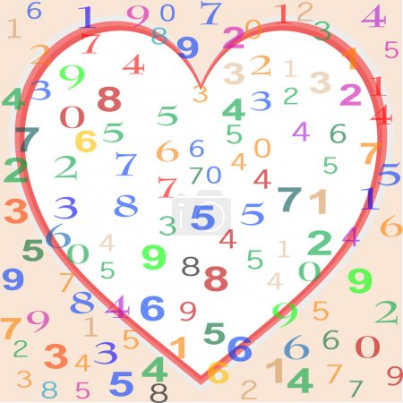 Background made from colorful numbers with love re...