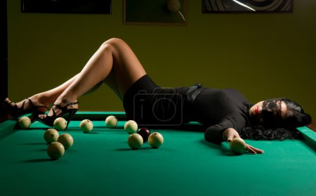 Woman in the billiard club