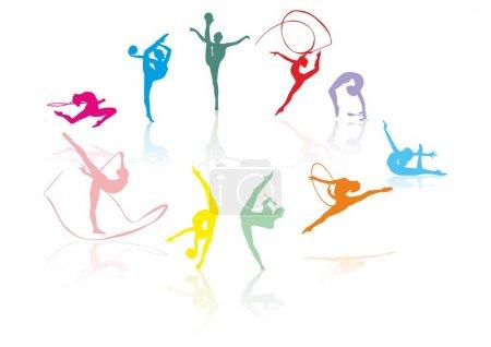 Illustration pour Silhouettes gymnastiques dans différentes poses travail vectoriel - image libre de droit