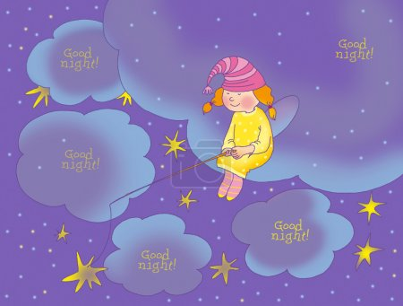 Photo pour Bonne nuit carte avec fée - image libre de droit