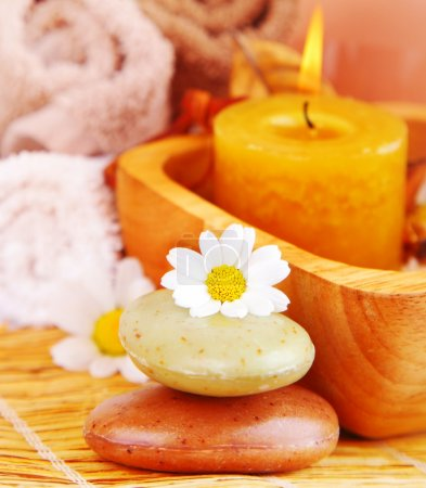 Photo pour Bougie Spa et savon à base de plantes bio avec fleurs de Marguerite, concept de relaxation zen - image libre de droit