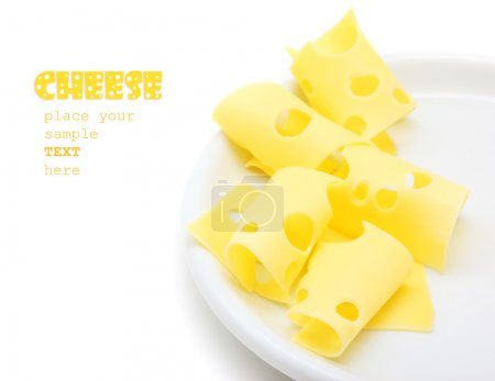 Photo for Tasty cheese slices on the plate, studio isolated food with text space - Royalty Free Image