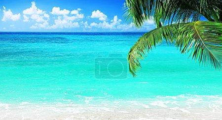 Foto de Playa, vista al mar panorámica, con agua limpia y azul cielo - Imagen libre de derechos