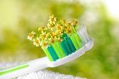 brosse à dents avec de petites fleurs