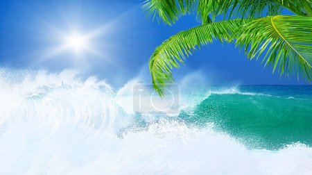 Photo for Paradise beach, beautiful nature, seascape with high surfing waves, summertime vacation concept - Royalty Free Image