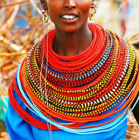 Photo for AFRICA, KENYA, SUMBURU, Portrait of Sumburu woman wearing traditional handmade accessories - Royalty Free Image