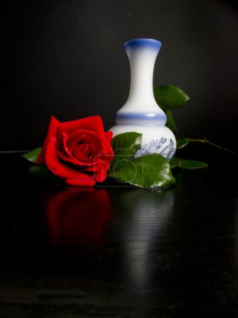 Pretty red rose with vase decorated with hints of black table