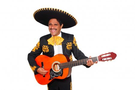Photo for Charro mexican Mariachi playing guitar isolated on white - Royalty Free Image