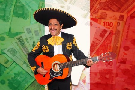 Photo for Charro Mariachi playing guitar over mexican peso notes currency - Royalty Free Image