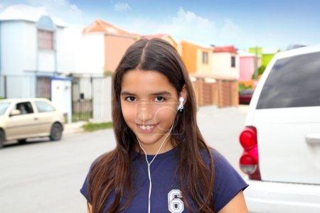 Hispanic latin teenager girl earphones music